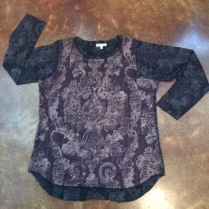 Orvis Over-Print Long Sleeved Hi-Lo Tunic Sz XL